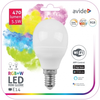WIFI LED Žárovka RGB+W E14 mini 5,5W