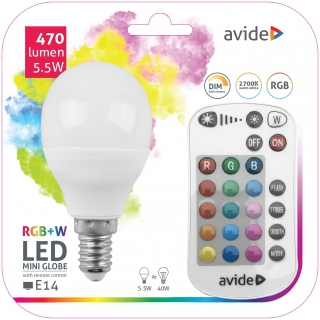 LED Žárovka RGB+W E14 mini 5,5W